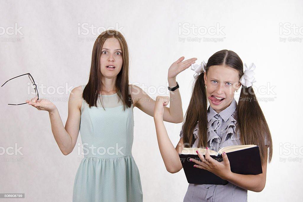 Trainee does not listen to punish teachers stock photo