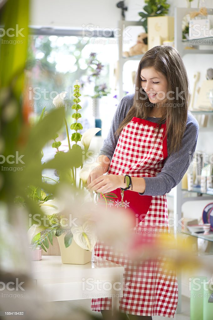 trainee florist royalty-free stock photo