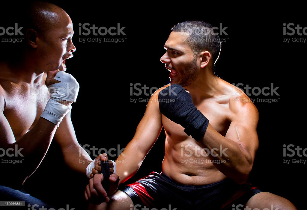 Trainer Motivating a Boxer or MMA Fighter stock photo
