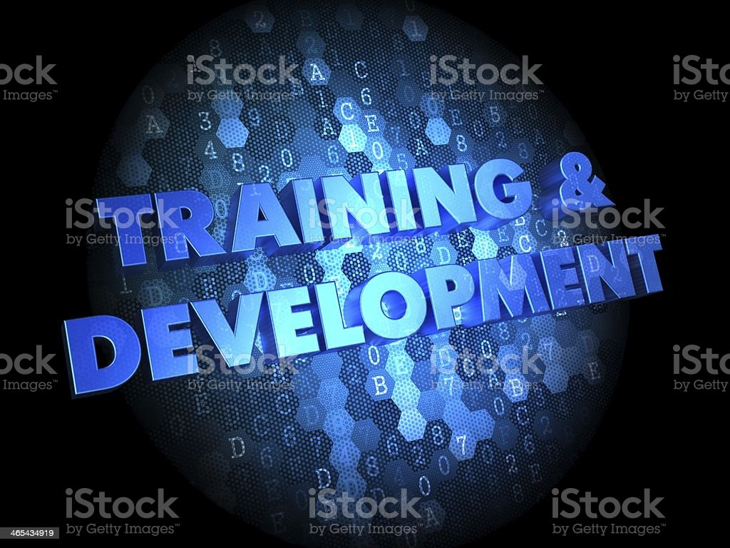 Training and Development on Digital Background. stock photo