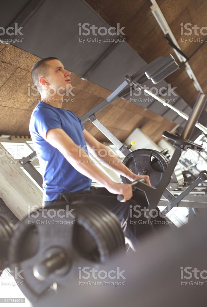 Training at gym stock photo