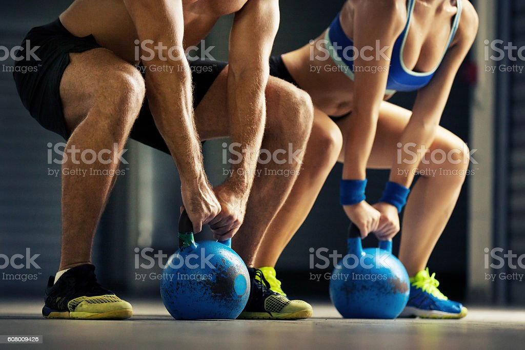 Training by kettlebell stock photo