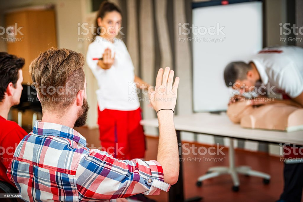 CPR training course stock photo