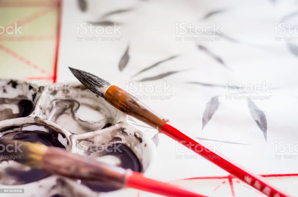 Training exercises Chinese painting Guohua stock photo
