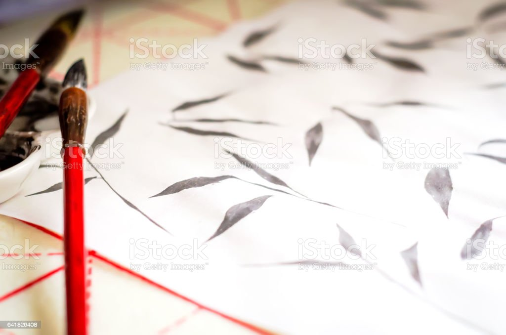 Training exercises Chinese painting Guohua stock photo