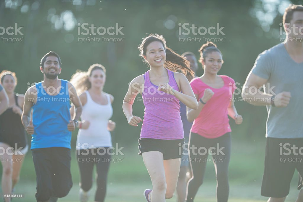 Training for a Marathon stock photo