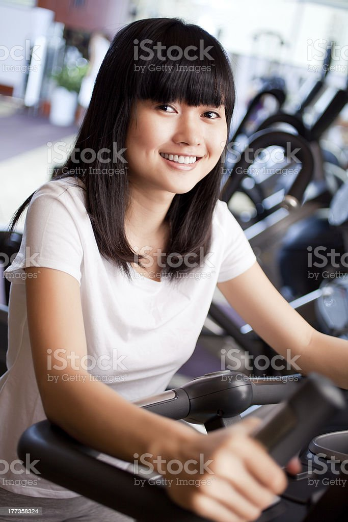 Training in fitness club stock photo