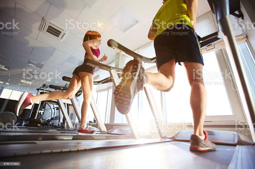 Training in gym stock photo