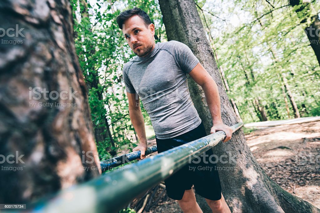 Training in nature is the best stock photo