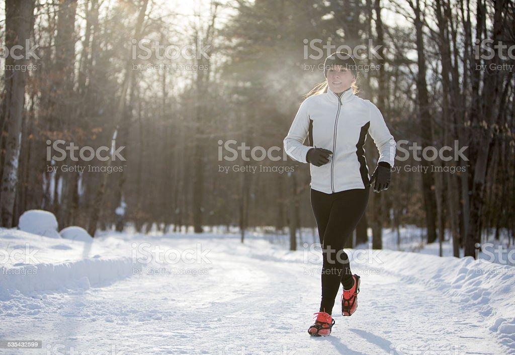 Training in Winter stock photo