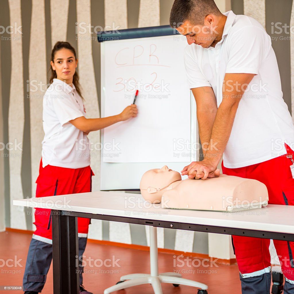 CPR training instructors stock photo