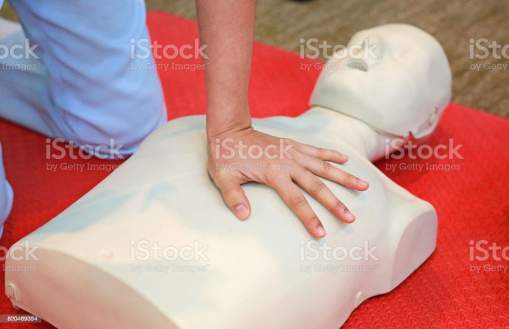 CPR training medical procedure, First aid training, Emergency.