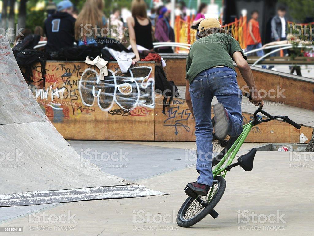 Training of the mountain biker. royalty-free stock photo