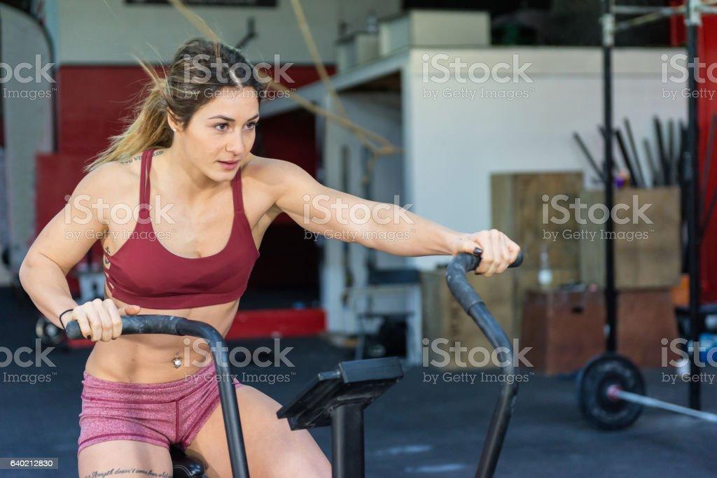 Training on exercise bike ! stock photo