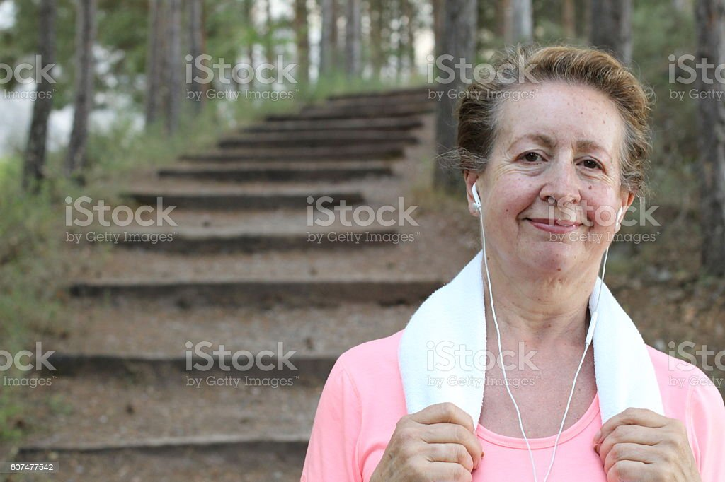 Training outdoors in the morning stock photo