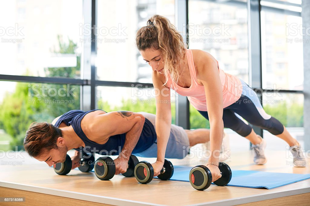 Training Push Ups stock photo