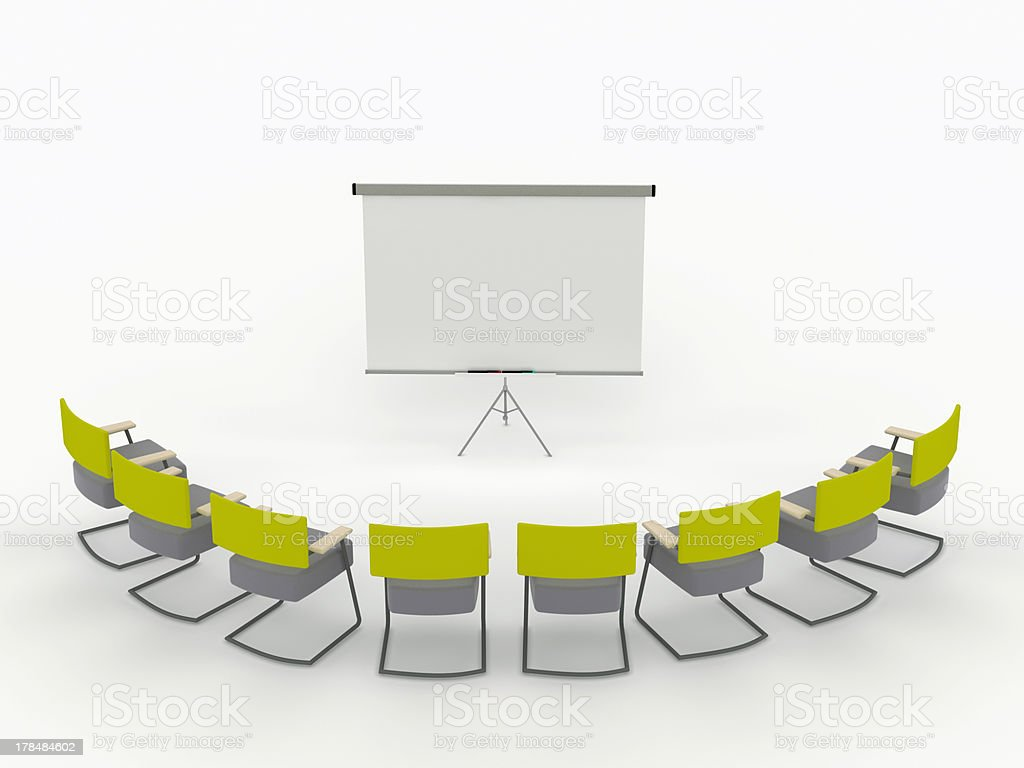 training room with marker board and chairs royalty-free stock photo