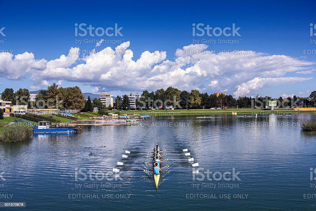 Training rowing on the lake Jarun stock photo