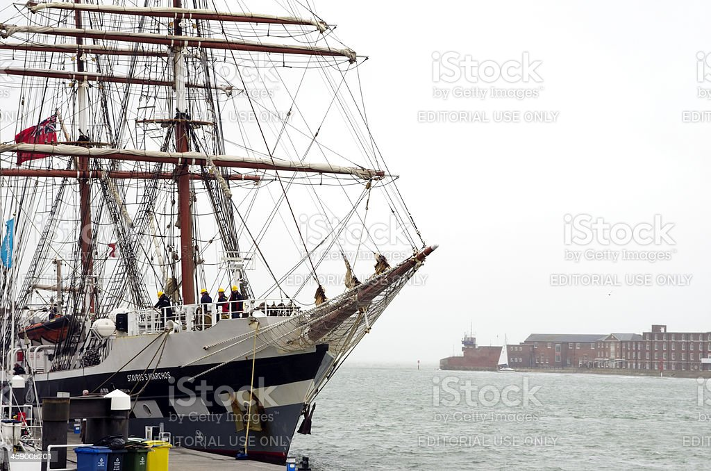 Training ship preparing to sail out of Portsmouth Harbour stock photo