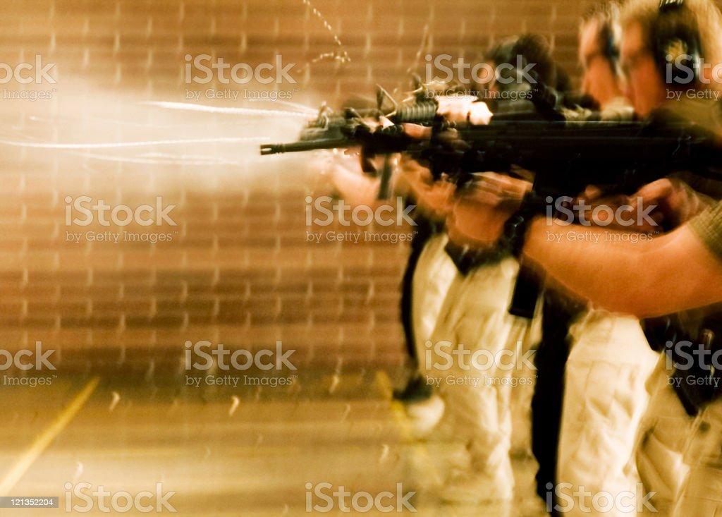 SWAT Training: shooting guns stock photo