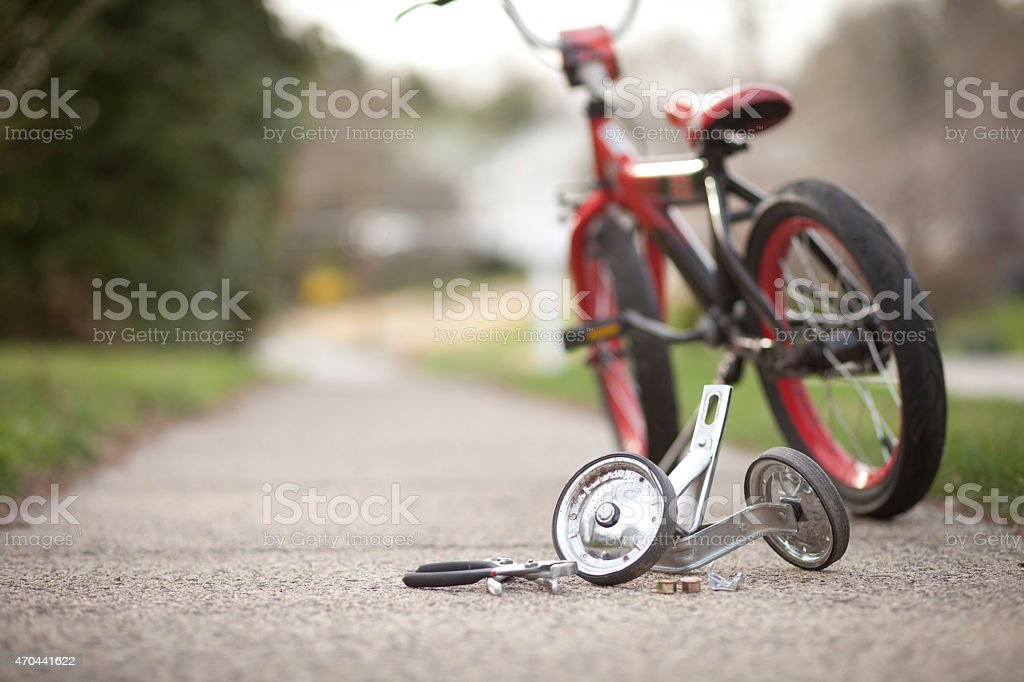Training wheels taken off bike stock photo