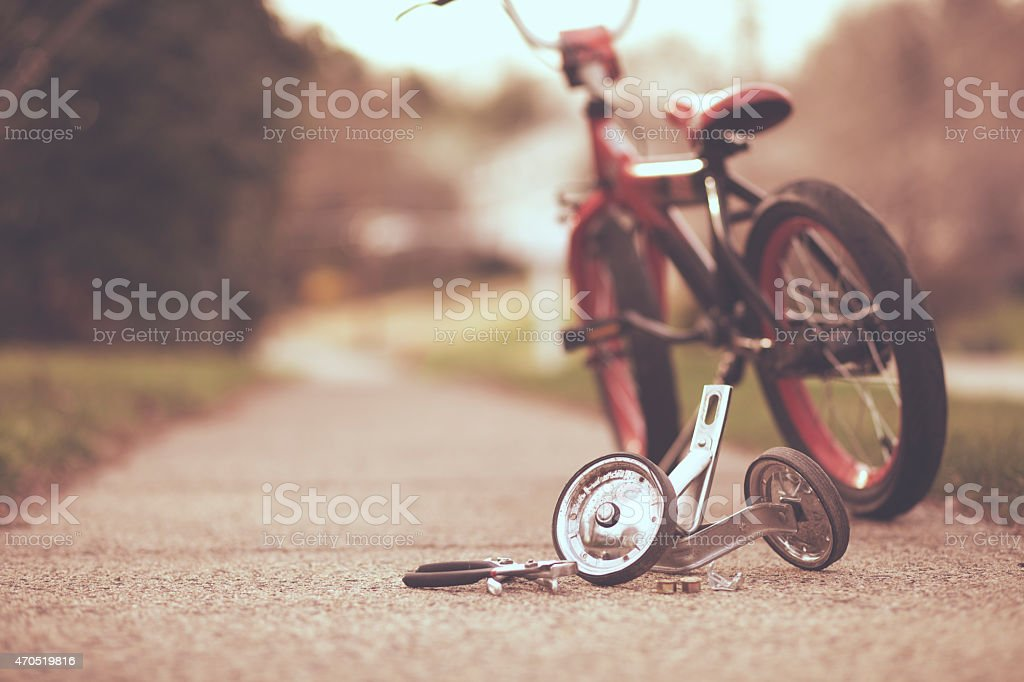 Training wheels taken off bike stock photo