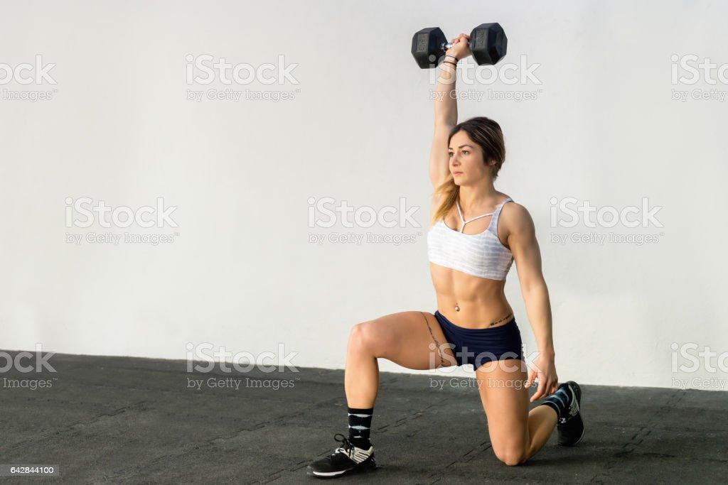 Training with dumbbells stock photo