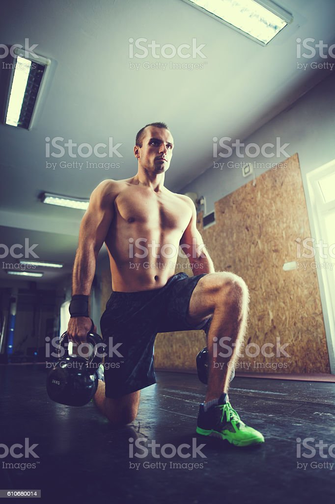 Training With Kettle Bell stock photo