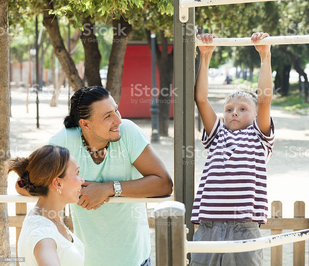 Training with pull-up bar stock photo