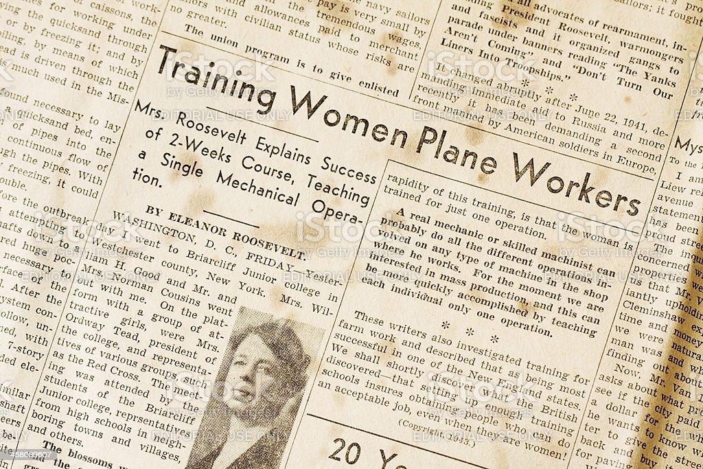 Training Women Plane Workers - Eleanor Roosevelt WWII stock photo