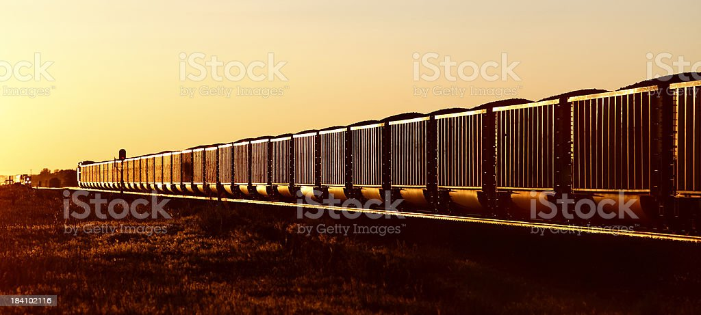 Trainload of black gold at sunset stock photo