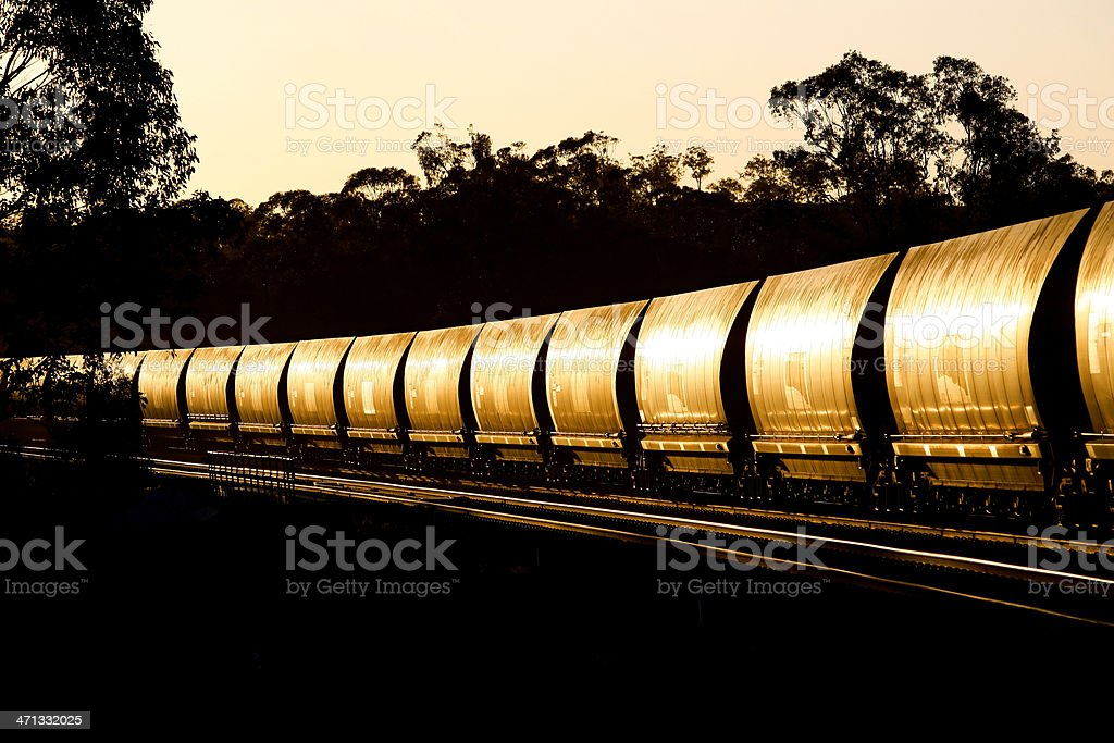 Trainload of black gold heading for port royalty-free stock photo