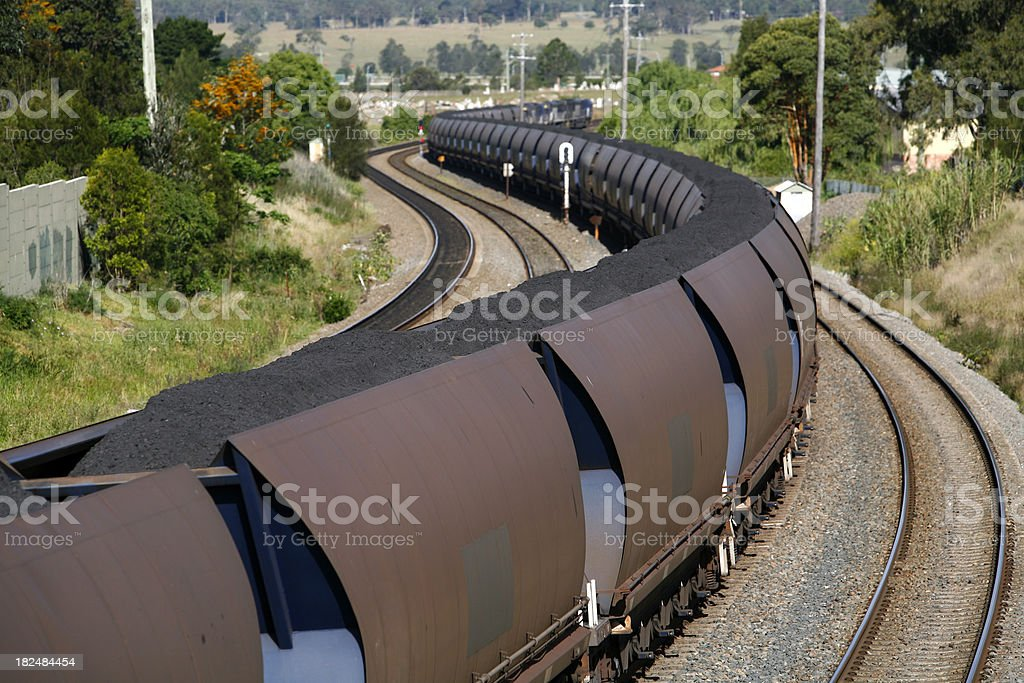 Trainload of coal heads to port royalty-free stock photo