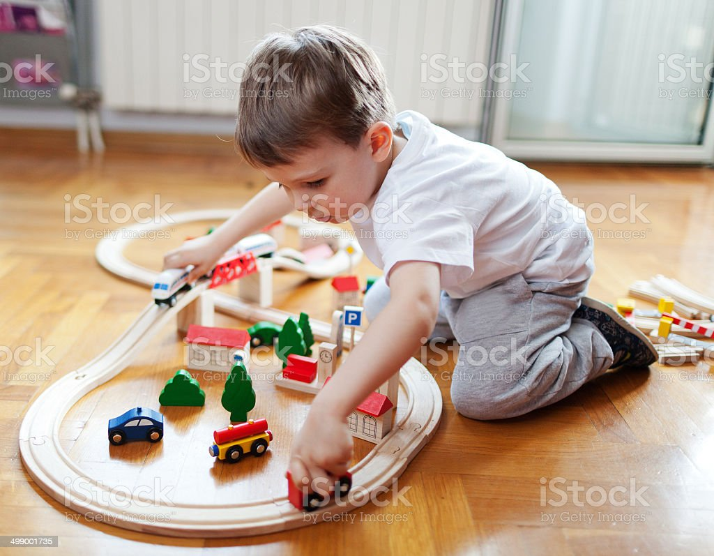 Trains are boys best friends stock photo
