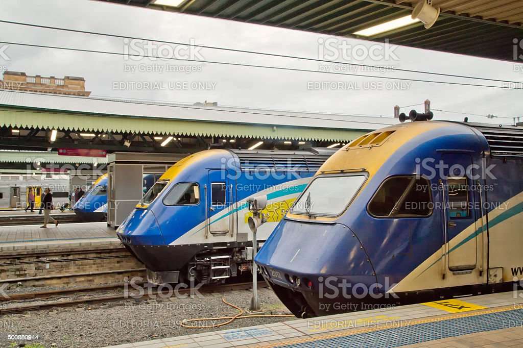 XPT trains at Central Station, Sydney stock photo
