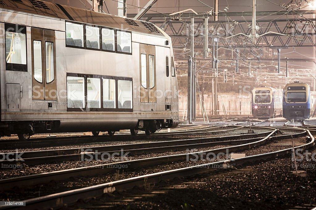 Trains at night stock photo