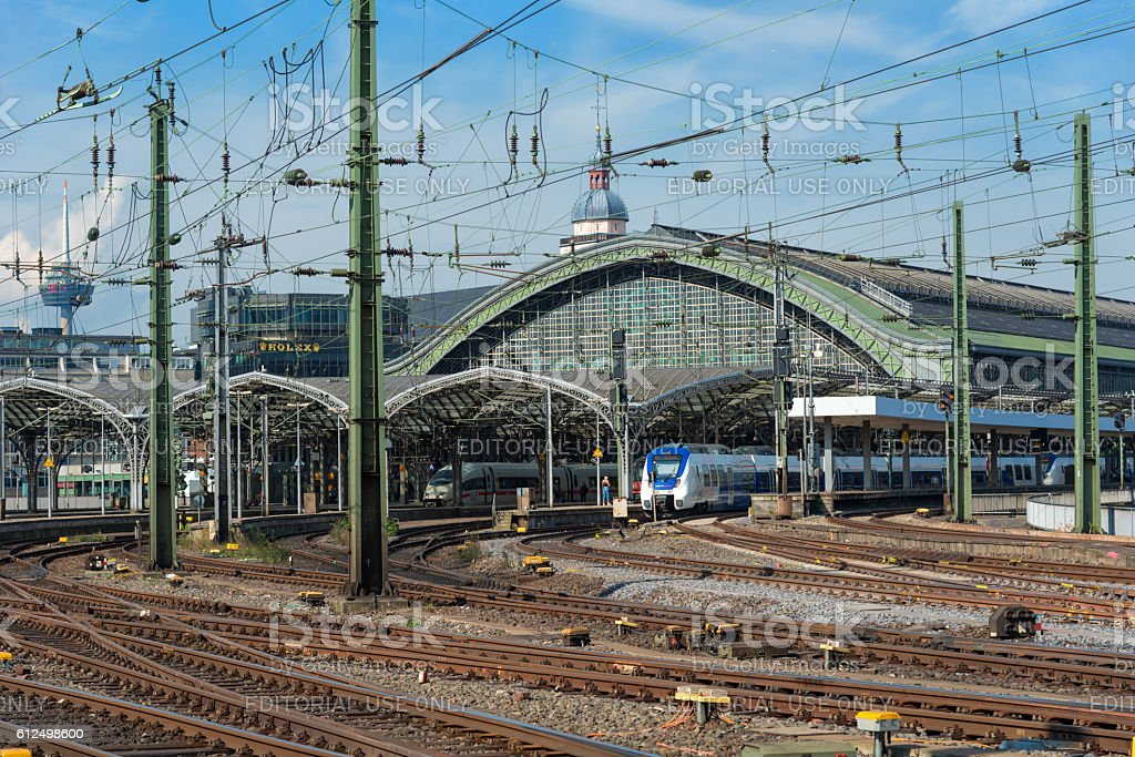 trains at the central station  Cologne Germany stock photo