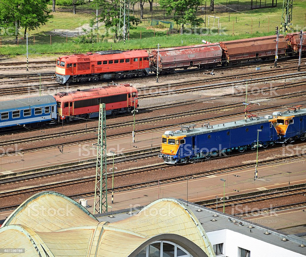 Trains at the station stock photo