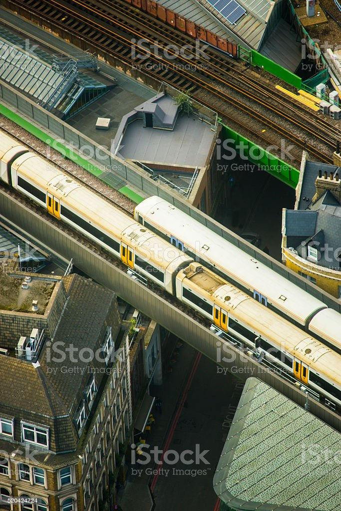Trains crossing the city stock photo