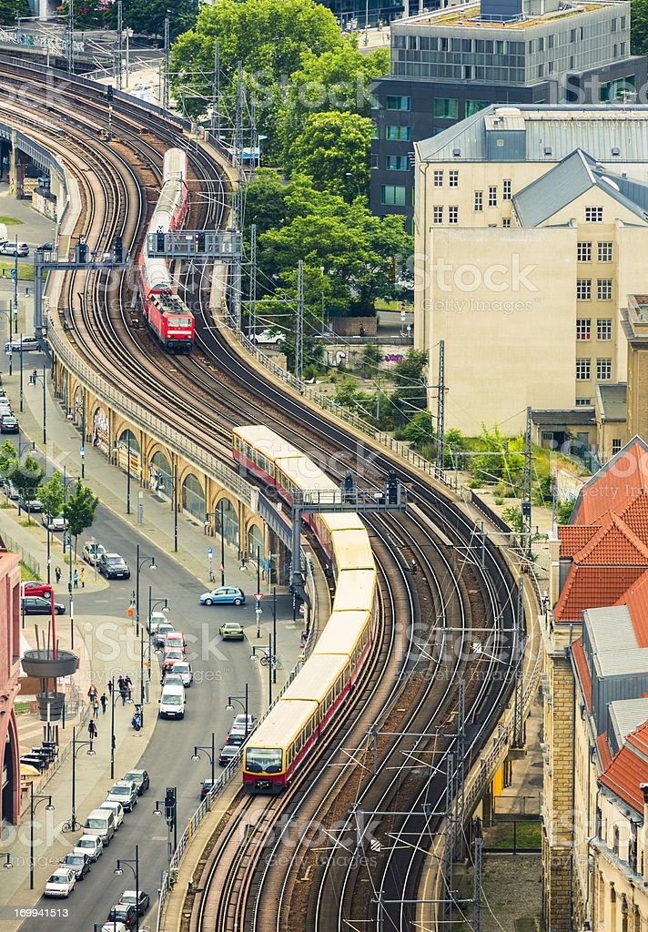 Trains in Berlin stock photo