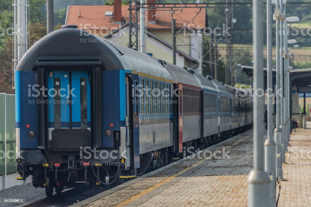 Trains in Olbramovice station with platforms stock photo