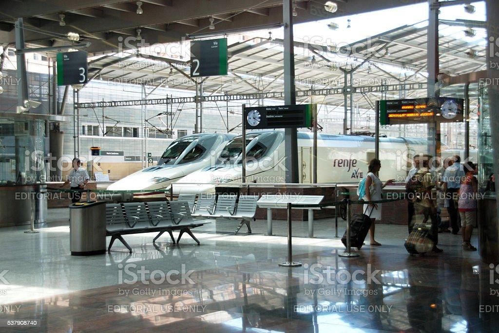 Trains in Zambrano railway station, Malaga. stock photo