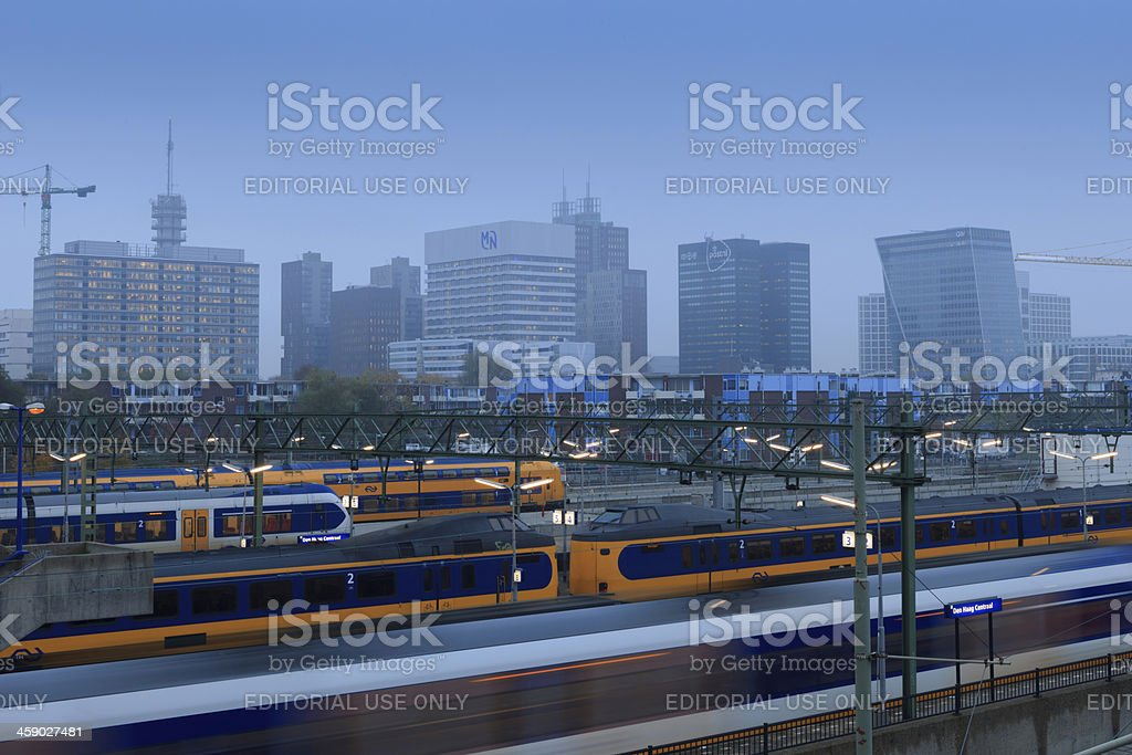trains leaving from and arriving at Den Haag Centraal royalty-free stock photo