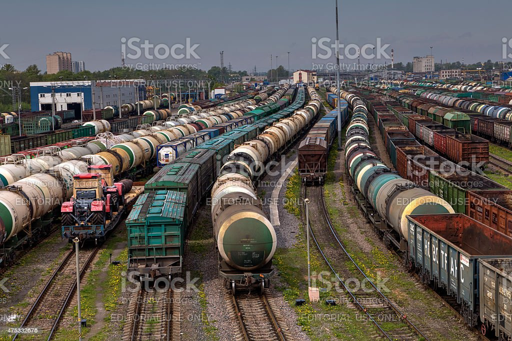 Trains of freight wagons in marshalling yard, Russia. stock photo