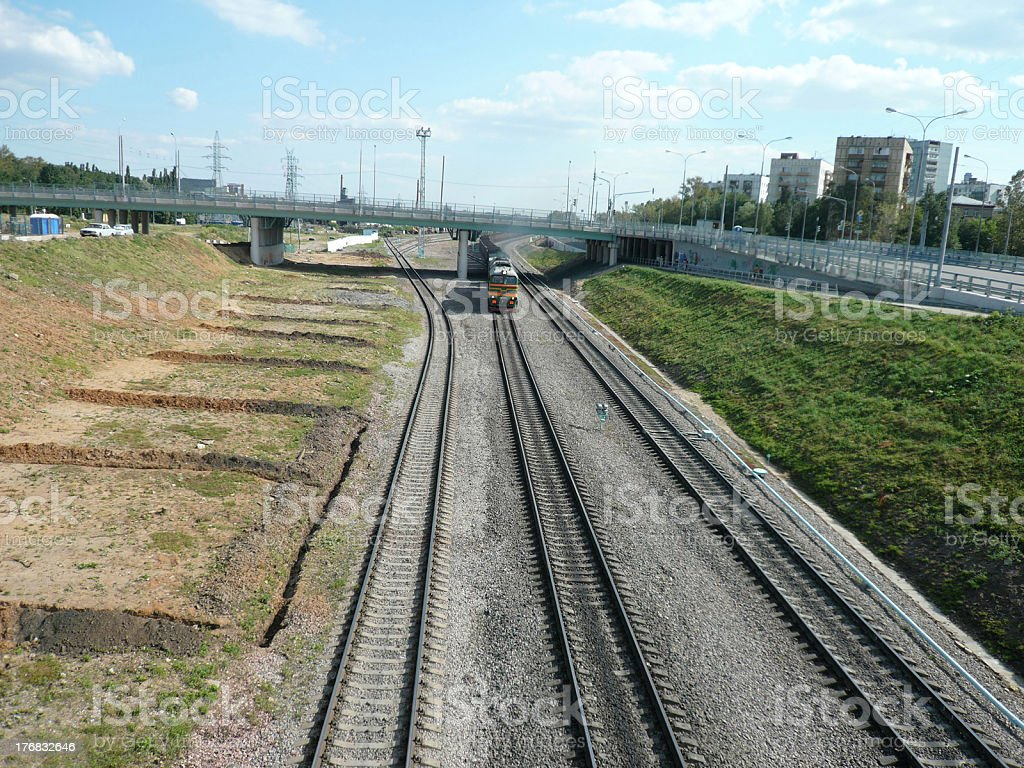 trains on rails  moving royalty-free stock photo