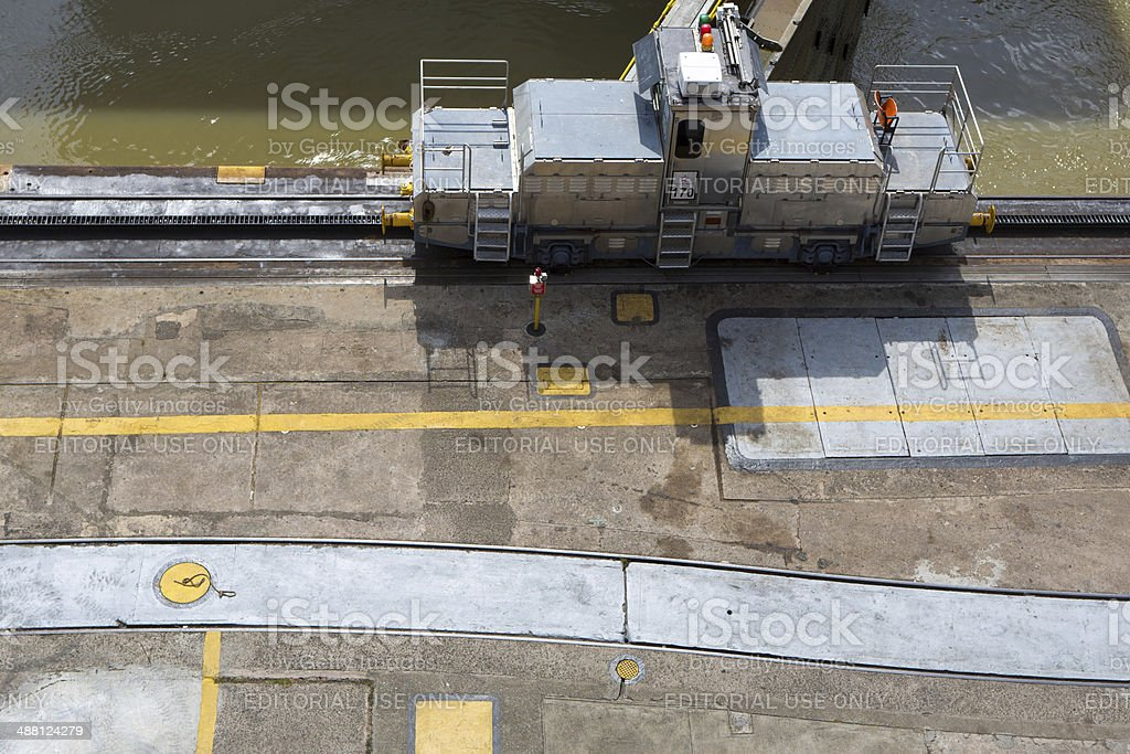 Trains side Panama Canal Miraflores stock photo