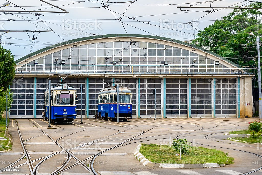 Trains stationed at maintenance area Dudesti Depot for periodically maintenance stock photo