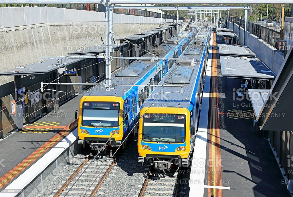 Trains stop at new low-level Gardiner station in Melbourne stock photo