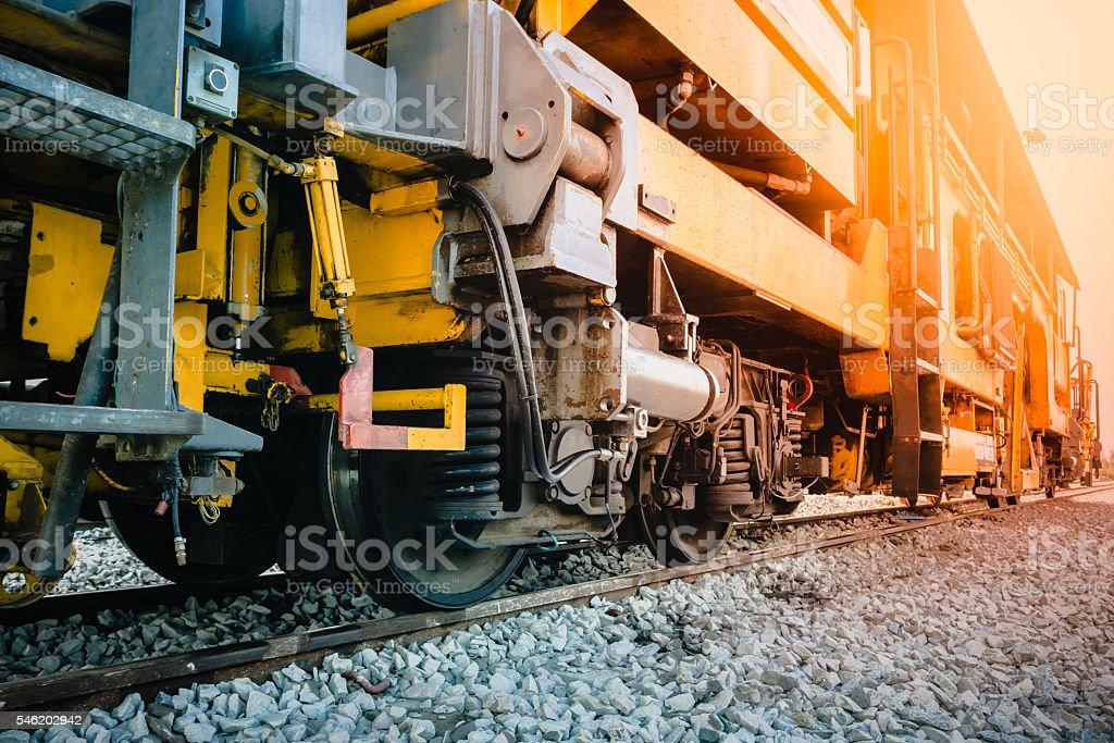 trains suspension on new railways. stock photo