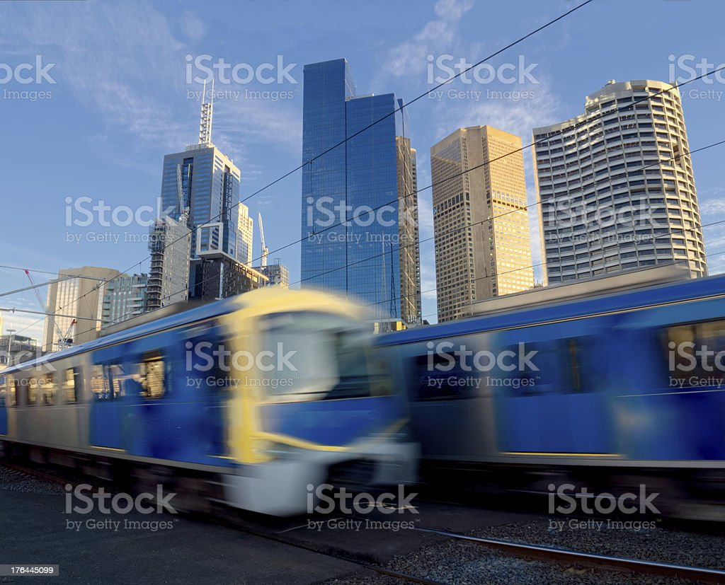trains travelling fast stock photo